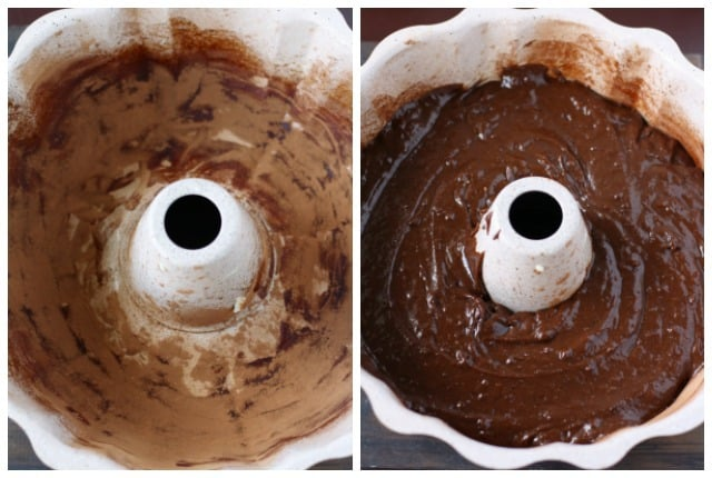 chocolate batter in bundt cake pan