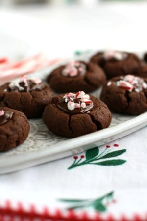 gluten free chocolate peppermint thumbprint cookies