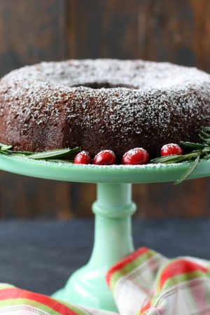 vegan gluten free chocolate gingerbread bundt cake