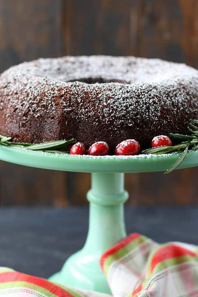 vegan gluten free chocolate gingerbread bundt cake