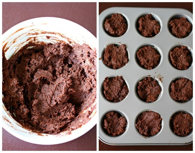 brownie batter and mini brownies in a muffin tin