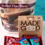 namaste gluten free flour, pascha chocolate, enjoy life chocolate bars, made good granola bars
