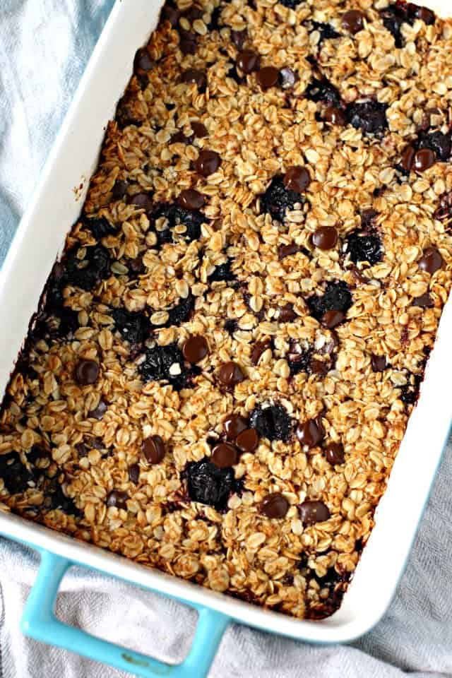 cherry baked oatmeal in blue casserole dish