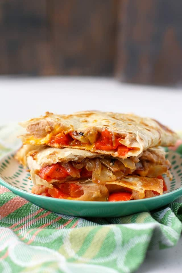red pepper and bean quesadillas