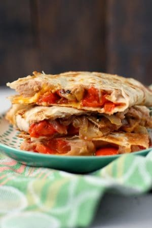 roasted red pepper bean vegan quesadillas