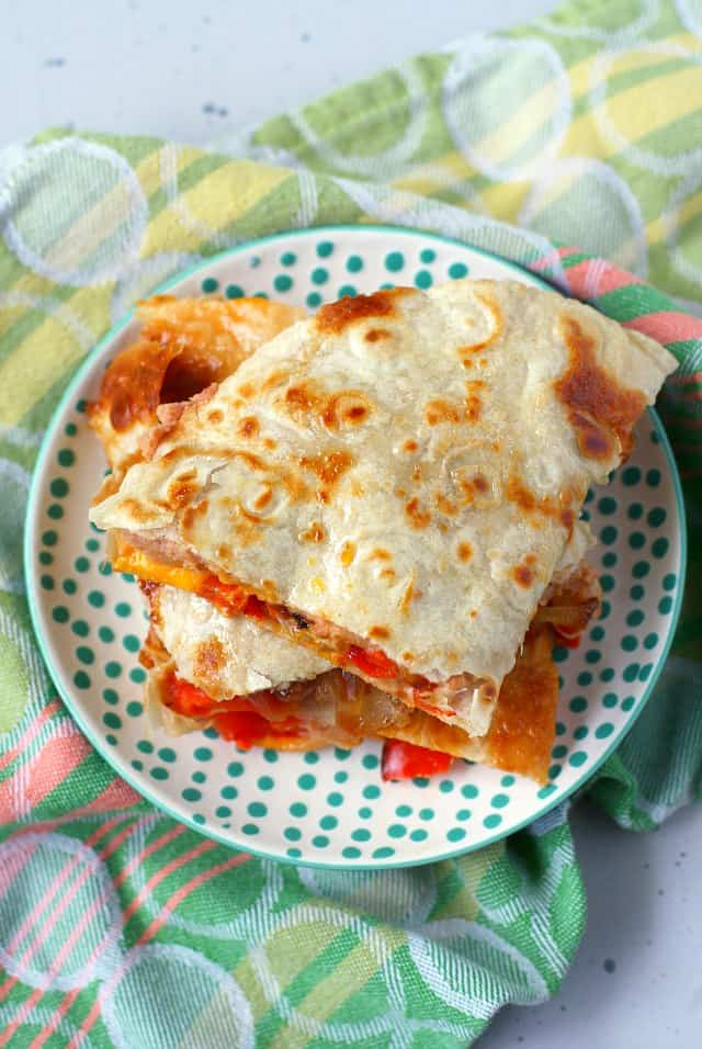 vegan red pepper quesadilla