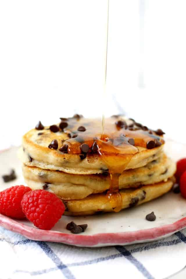 stack of vegan chocolate chip pancakes
