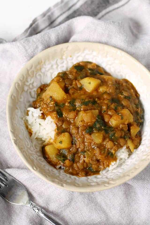 curry with lentils and potatoes