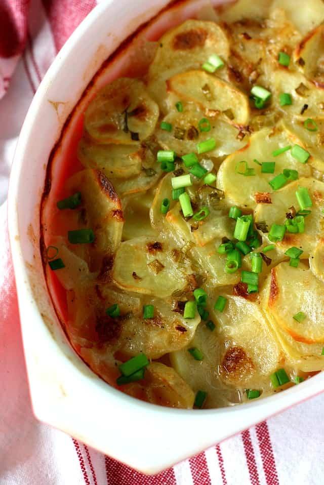 dish of vegan scalloped potatoes