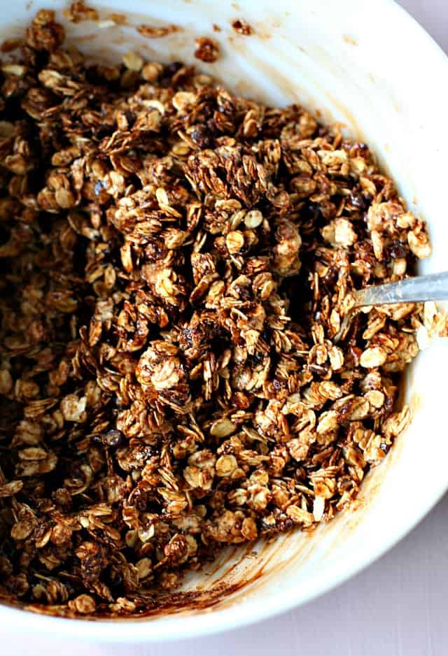 chocolate granola before baking