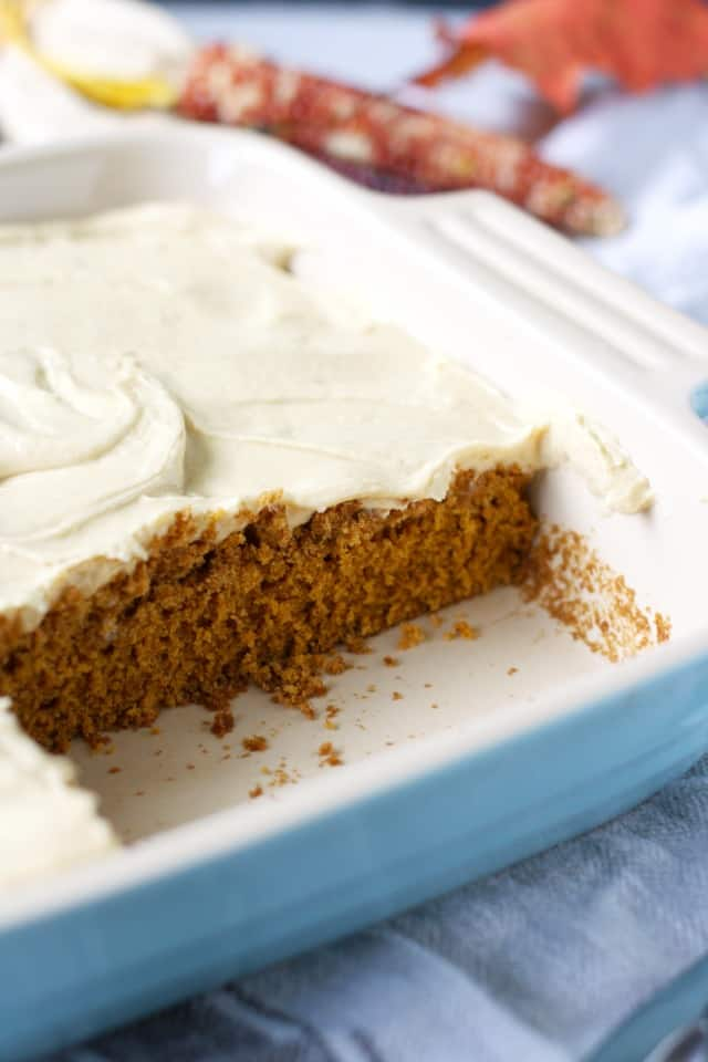 pumpkin spice cake in pan