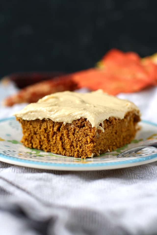 vegan pumpkin spice cake with molasses frosting