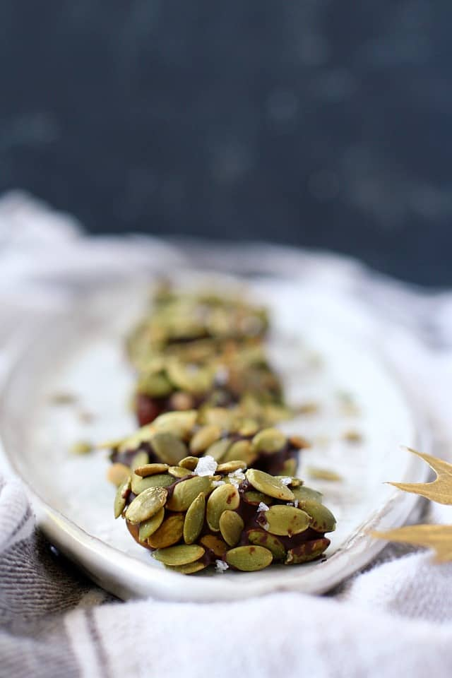 chocolate dates with pumpkin seeds
