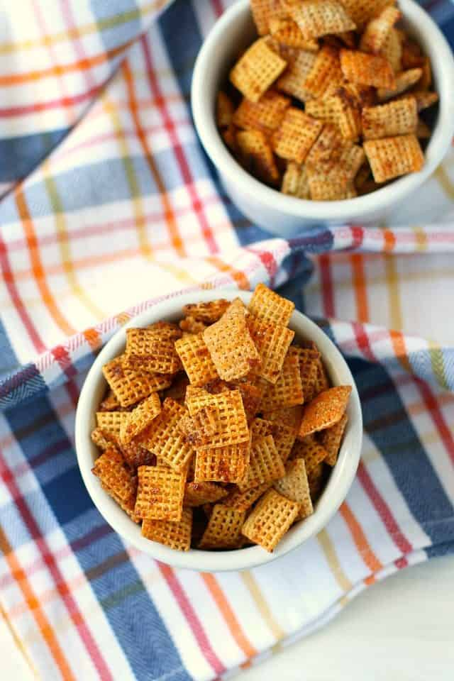 nut free chex mix in white bowls