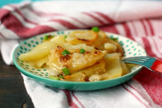 vegan scalloped potatoes with green onions