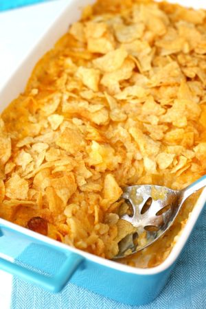 dairy free cheesy potato casserole with crunchy topping