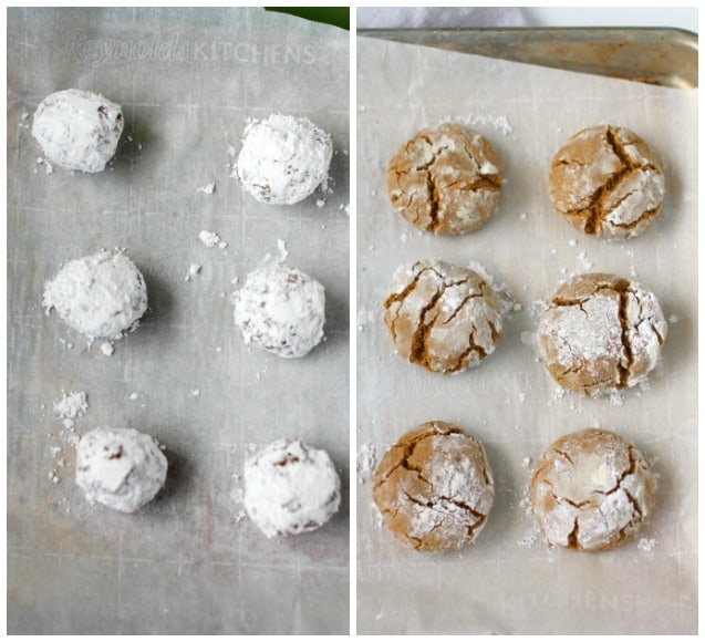 gingerbread crinkle cookie on a cookie sheet