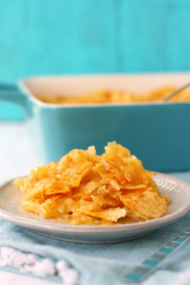 funeral potatoes on a plate
