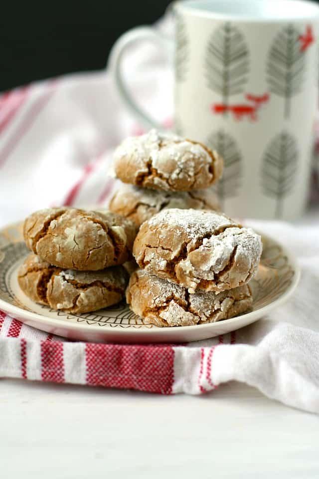 gluten free gingerbread crinkle cookies