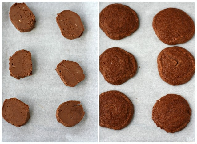 chocolate shortbread cookies on a baking sheet