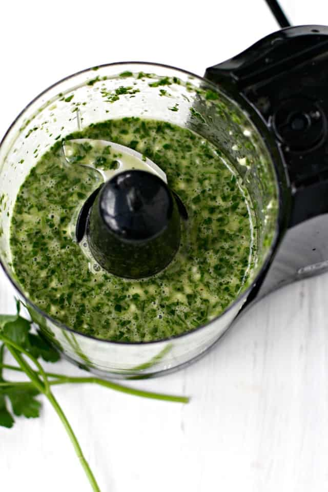 green sauce in mini food processor
