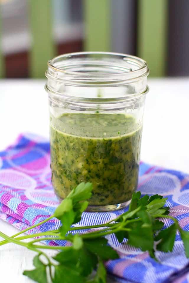 green sauce in small mason jar