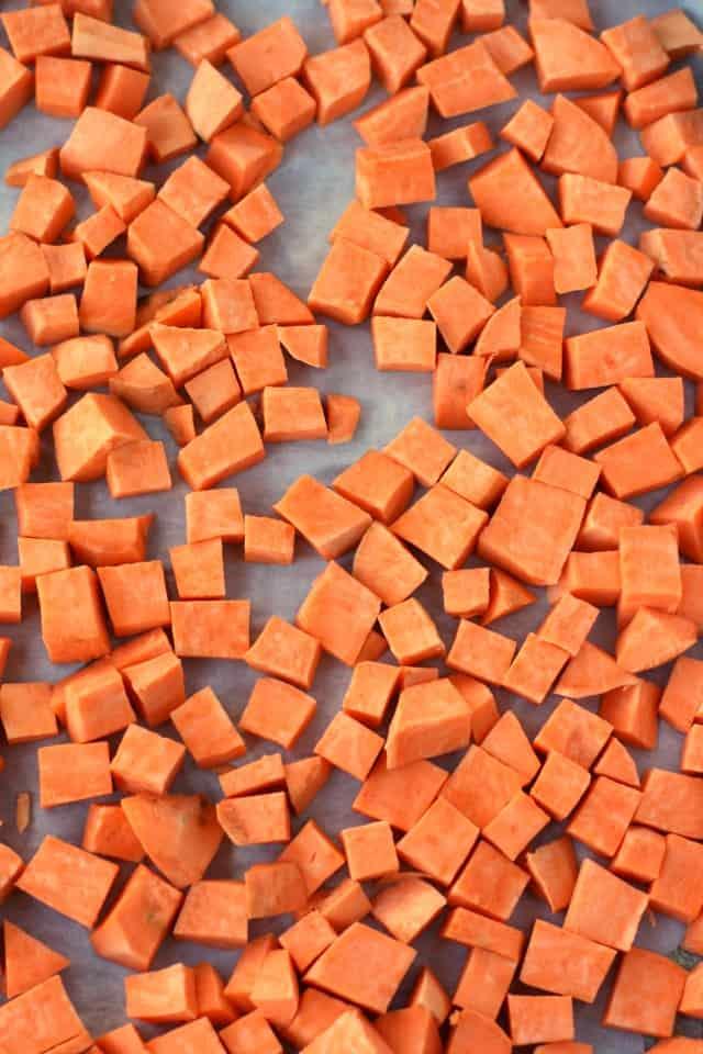 cut sweet potatoes
