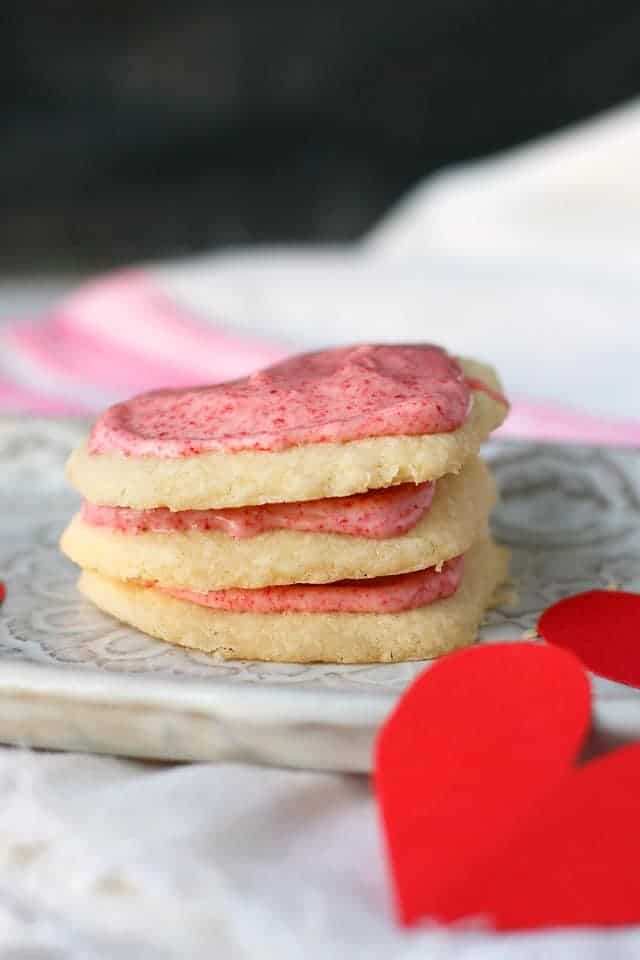 stack of gluten free frosted shortbread cookies