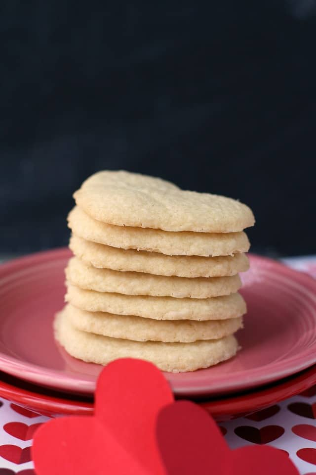 stack of shortbread cookie hearts