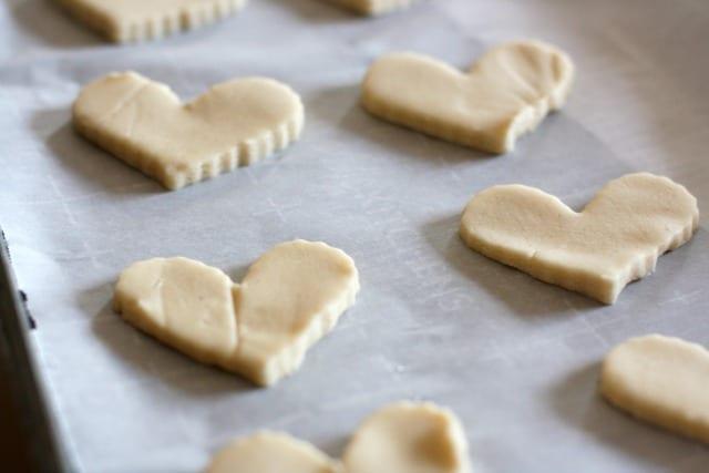 unbaked shortbread cookies on cookie sheet