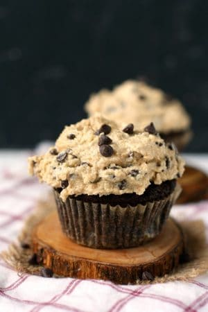 vegan chocolate cupcakes with cookie dough icing
