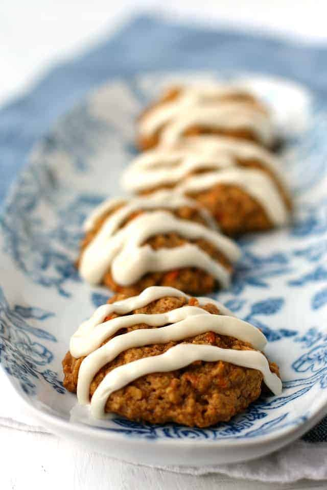 carrot cake oatmeal cookies on a blue tray