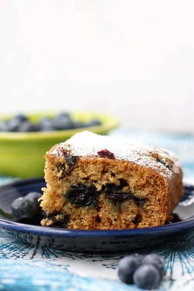 berry breakfast cake on a blue plate