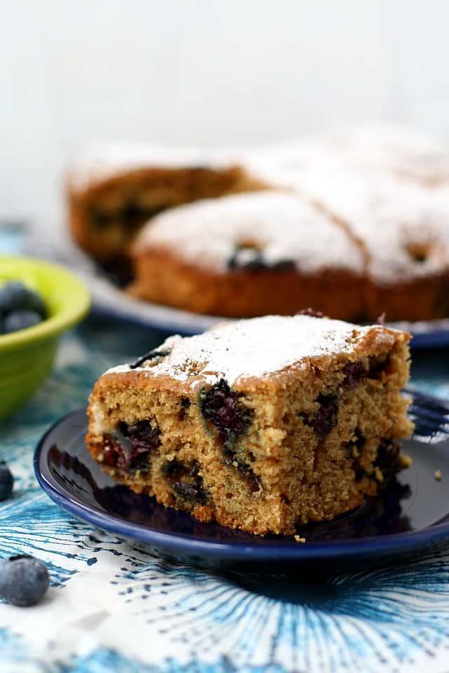 a slice of vegan blueberry cake