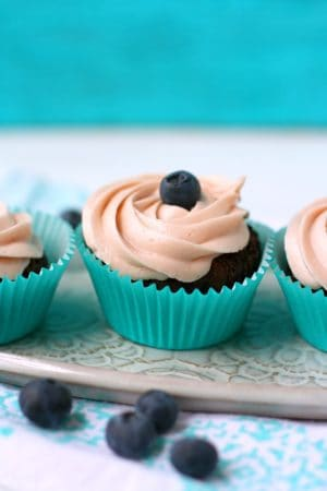 chocolate cupcakes on a white tray