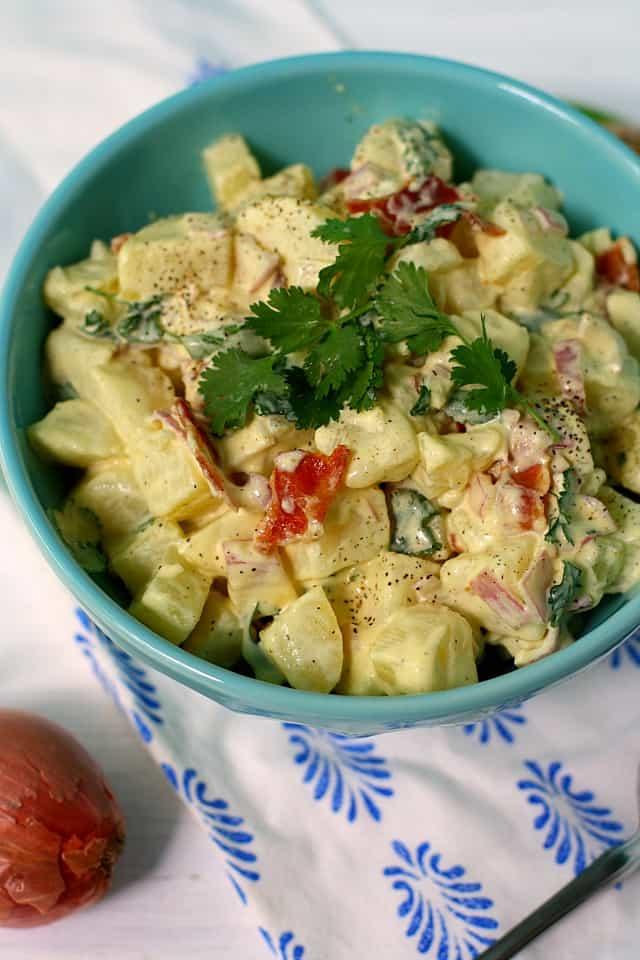 classic potato salad with shallots and bacon