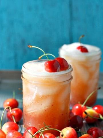 cherry limeade in glasses