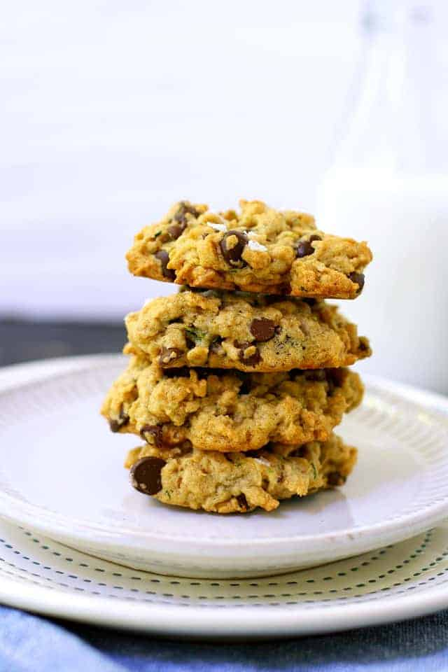 stack of zucchini oatmeal cookies