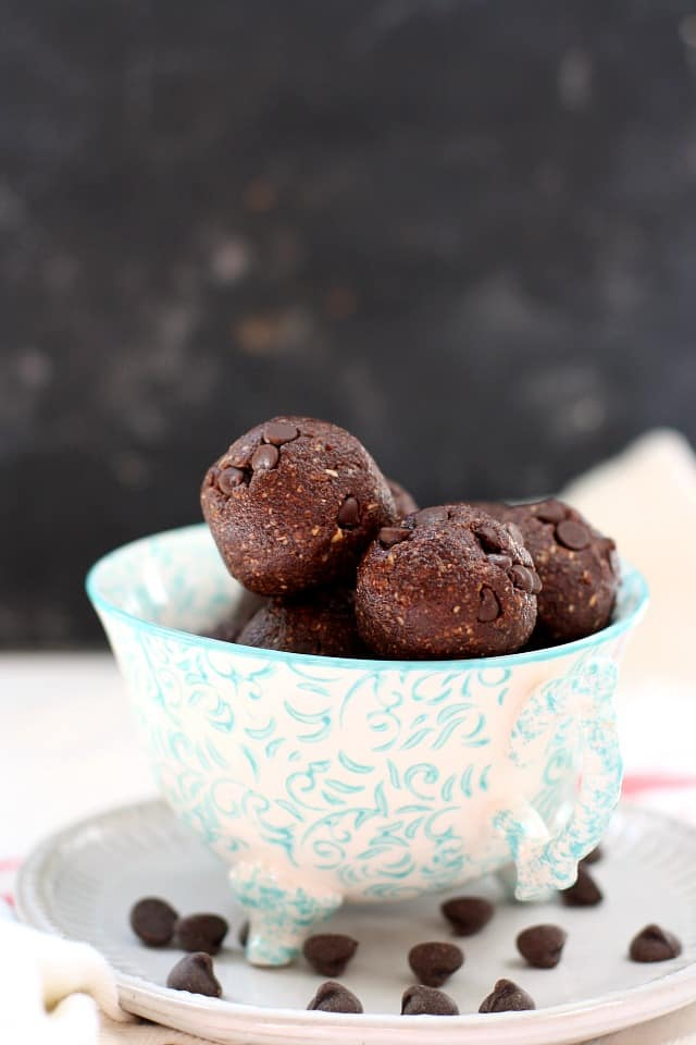 gluten free brownie batter bites in a tea cup