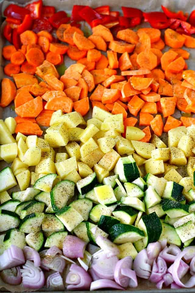 rainbow vegetables on a cookie sheet