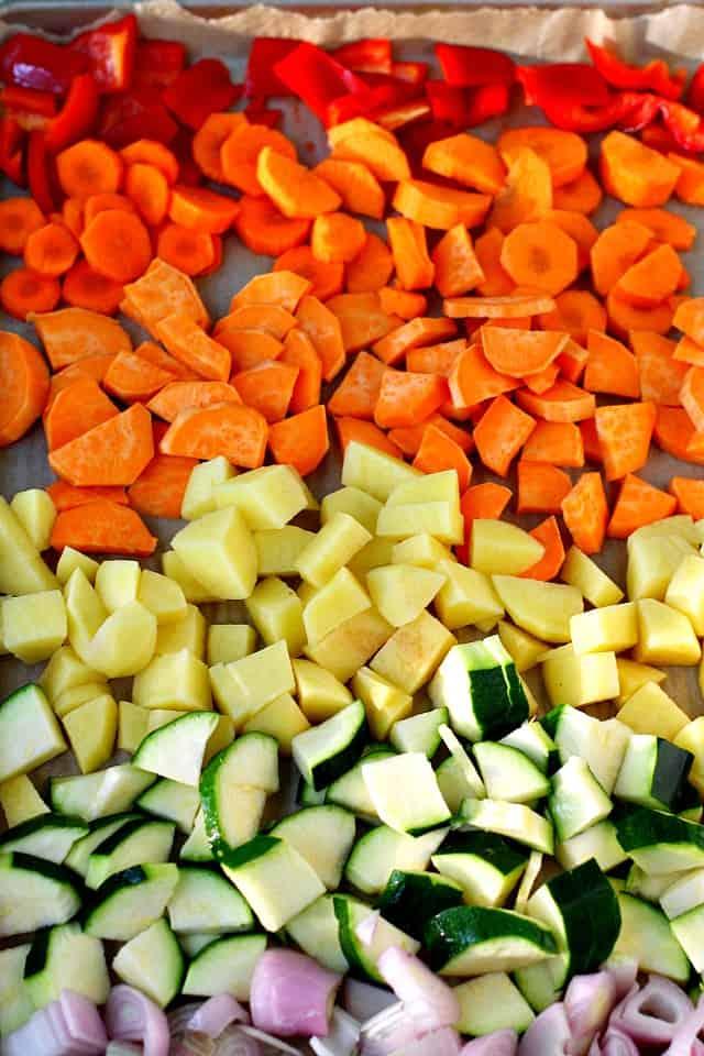 rainbow veggies on a baking sheet