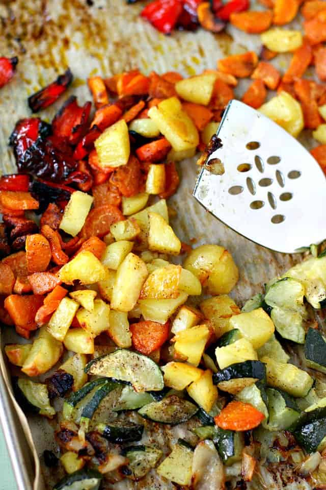 roasted potatoes carrots and peppers