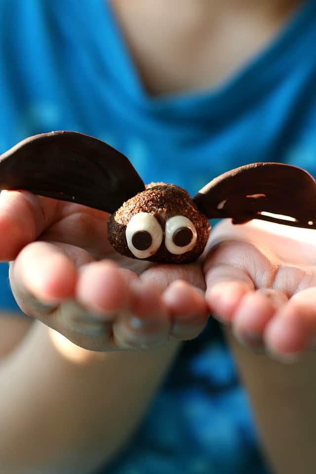 brownie bite bat being held in hands