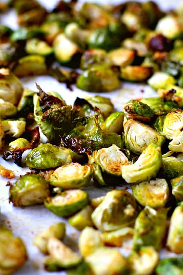 roasted brussels sprouts on a cookie sheet