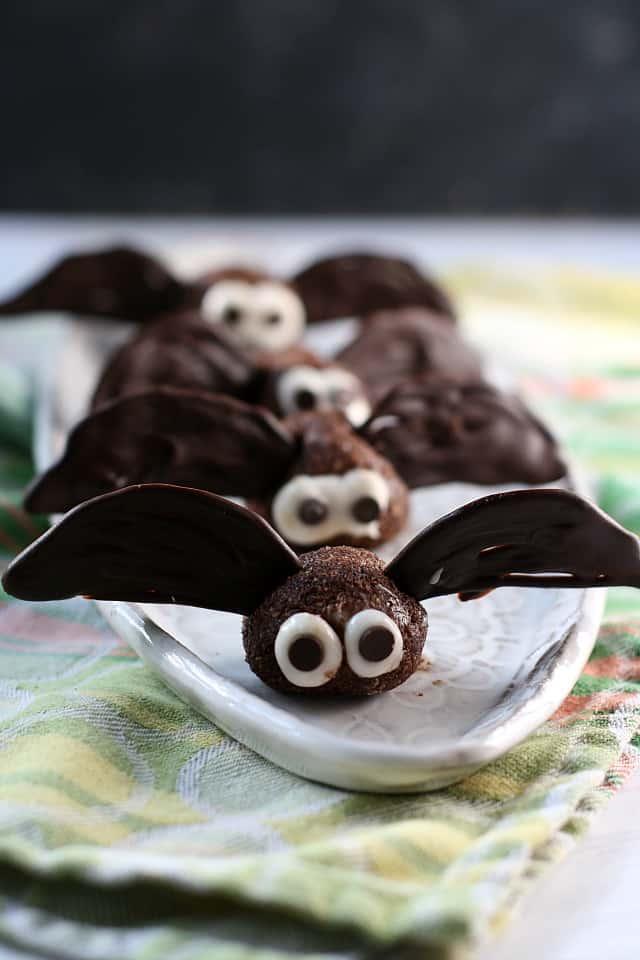 vegan brownie batter bites on a white tray