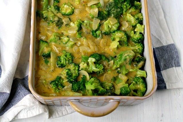 cheesy broccoli in a casserole dish