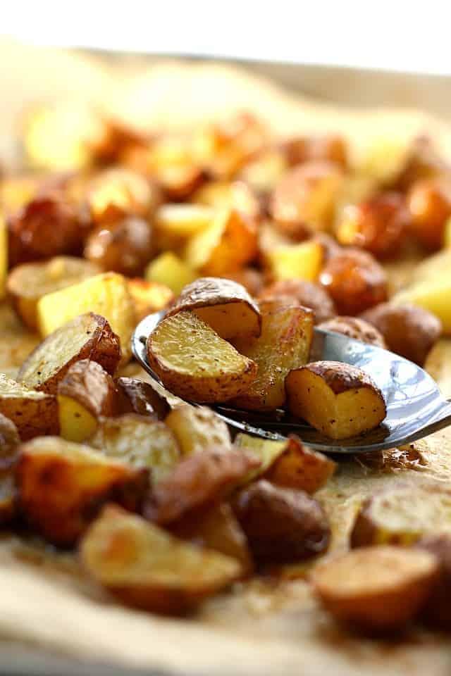 lemon roasted red potatoes on a baking sheet
