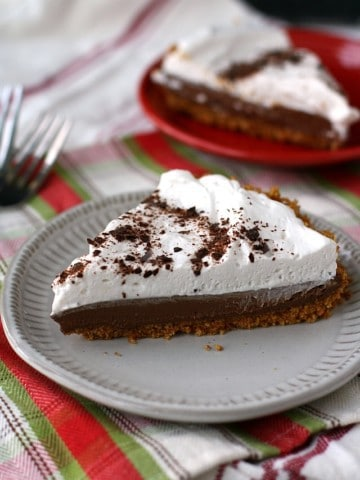 slice of vegan french silk pie on a plate