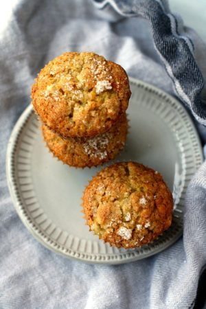 three vegan banana muffins on a grey plate