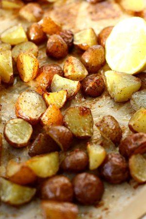 lemon roasted potatoes on a baking sheet